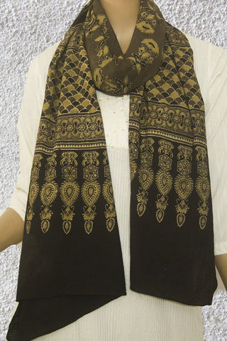 Grey Block Printed Ajrak Cotton Stole