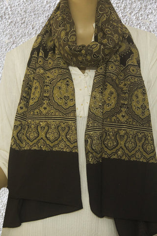 Lotus Floral Block printed Ajrak Cotton Stole
