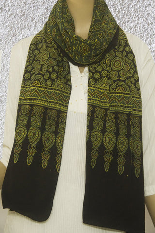 Green Lotus Floral Block Printed Ajrak Cotton Stole