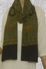 Green Flower Block Printed Ajrak Cotton Stole