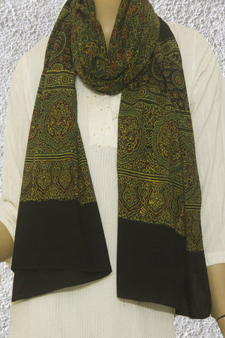 Maroon with Green Floral Ajrak Cotton Stole