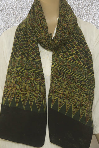 Green with Black Block Printed Ajrak Cotton Stole