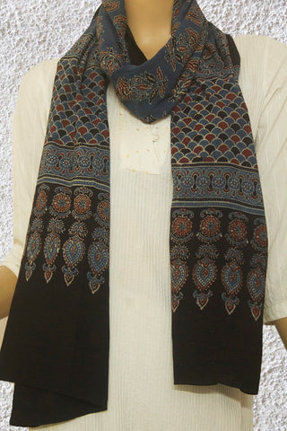Indigo with Maroon Flower Ajrak Cotton Stole