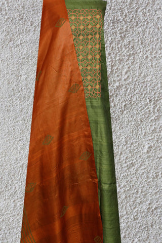 Green with Brown Tussar Silk Embroidered Top with Dupatta