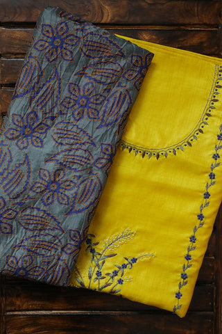 Yellow with blue Tussar Silk Embroidered Top with Dupatta