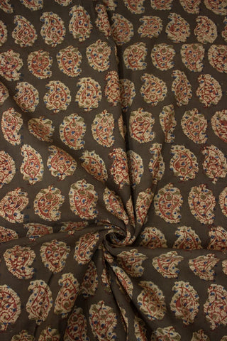 Olive Paisleys - Block Printed Kalamkari Fabric