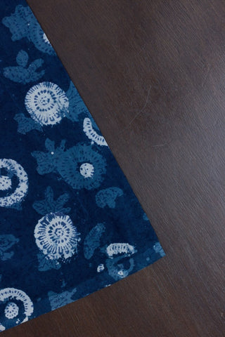 Indigo Circles Bagru Block Printed Cotton Fabric -2.3m