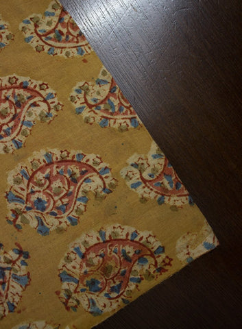 Yellow Paisleys - Block Printed Kalamkari Fabric