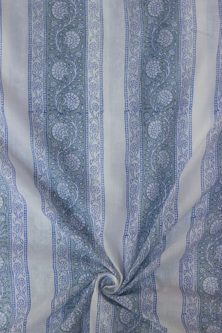 Off White with Grey Mughal Print Mul Cotton Fabric