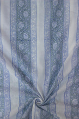 Off White with Grey Mughal Print Mul Cotton Fabric-0.9 m