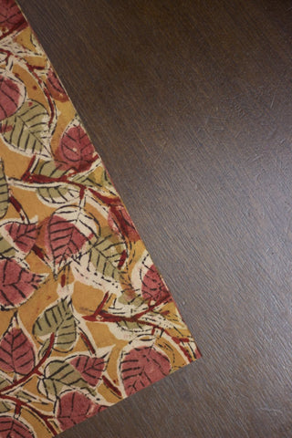 Fenugreek with Peach Peepal Leaves Printed Kalamkari Fabric
