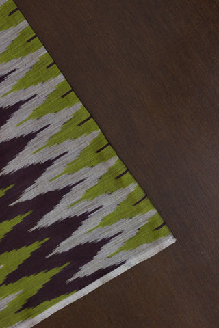 Green with brown zigzags mercerized cotton Ikat Fabric
