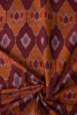 Orange Diamonds - Mercerized cotton Handwoven Ikat Fabric