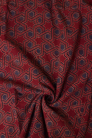 Indigo with Maroon Stars Block Printed Ajrak fabric
