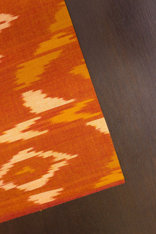 Abstract Patterns - Orange Handwoven Ikat Fabric