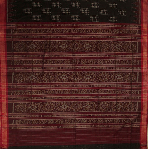 Black with Red Temple Border Hand woven Orissa Ikat Saree