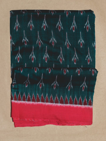 Green with Red Handwoven Orissa Ikat Saree