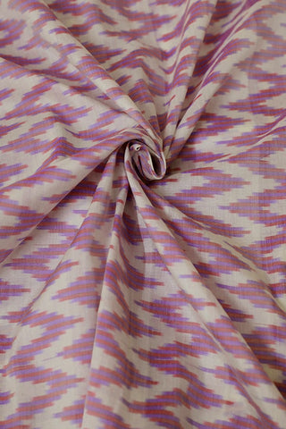 Zig Zag in Off White Ikat Silk Cotton Fabric