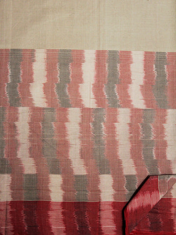 Random Patterns - Grey with Red Handwoven Ikat Cotton Saree
