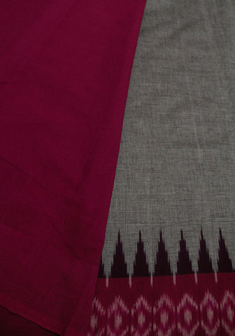 Grey Temple Border Handwoven Ikat Cotton Saree