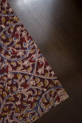 Dark Maroon with Mustard Floral Block Printed Kalamkari Fabric