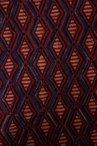 Indigo with Maroon Diamond Shape Block Printed Ajrak fabric