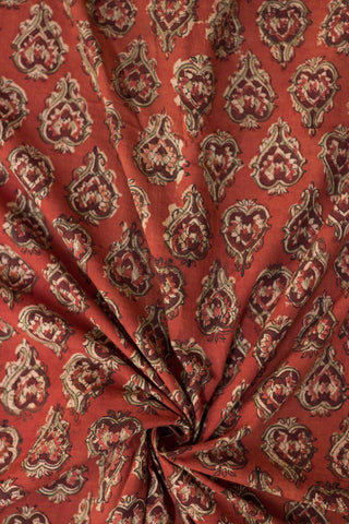 Rust Red Block Printed Kalamkari Fabric