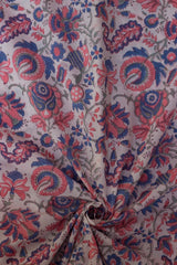 Indigo with Peach Floral Sanganeri Hand Block Printed Fabric