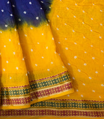 Yellow with Blue Tie and Dye Bandhani Saree