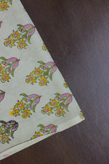 Pink with Yellow Floral Sanganeri Hand Block Printed Fabric