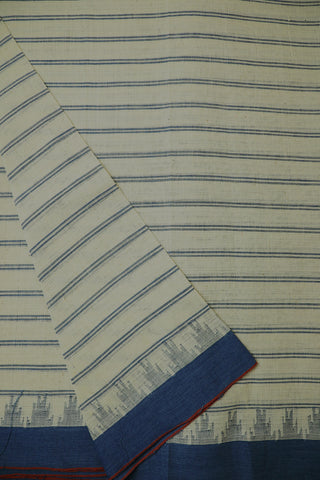 Ivory White Striped Ganga Jamuna Kuppadam border Cotton Fabric