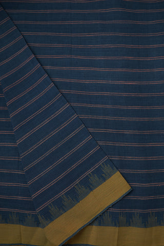 Denim Blue with Yellow Stripes Natural Dyed Kuppadam border Fabric