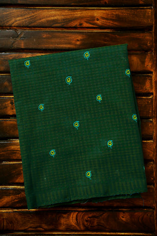 Blue Green Paisley Embroidered Bodo Checks Fabric