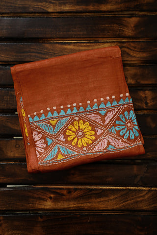 Brown Kantha Work Tussar Silk Blouse Fabric