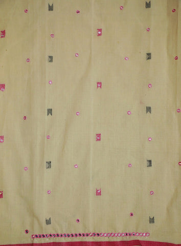 Handspun Handwoven Jamdani Fabric with mirror work  (1.2 m)