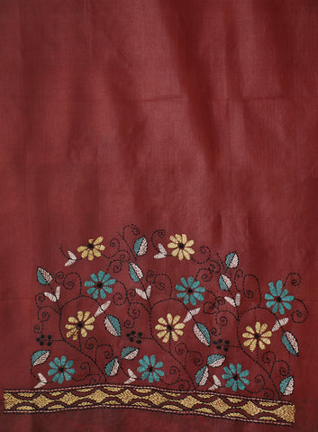 Maroon with Green Floral Tussar Silk Blouse Fabric