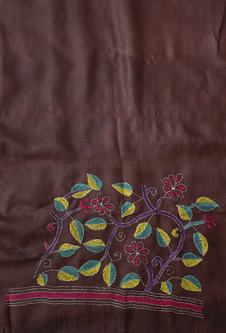 Leaf Floral Kantha Work Tussar Silk Blouse Fabric