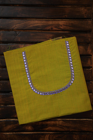 Yellowish Green Managalagiri with Lavender mirror Work