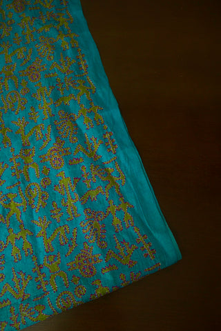 Ramar Blue Handworked Kantha Tussar Silk Blouse