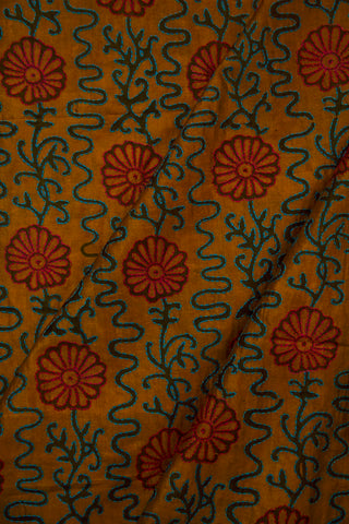 Golden Yellow Handworked Tussar Silk Cotton Blouse