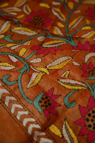 Golden Brown Kantha Embroidered Tussar Silk Blouse Fabric