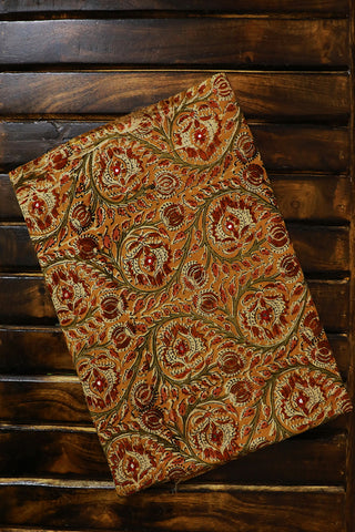 Yellow Mirror Work Block Printed Kalamkari Fabric