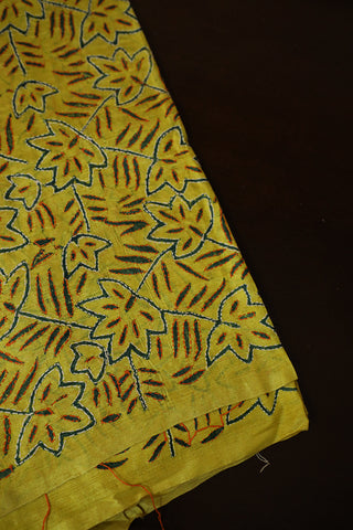 Leaves in yellow Kantha Work Tussar Silk Blouse Fabric