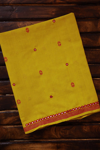 Yellow Butta Fabric with Red Mirror Work