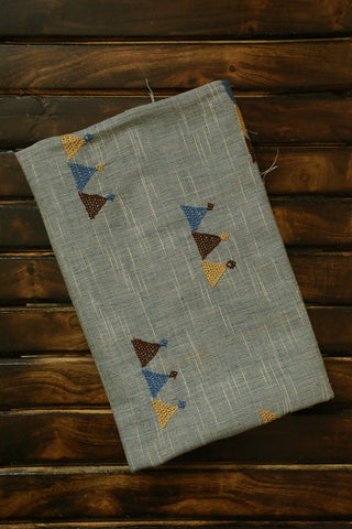 Greyish Blue textured handwoven Fabric with Lambani Embroidery