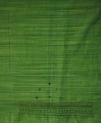Green with Brown Embroidered Work Blouse Fabric