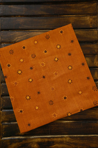 Bordered Yellowish Orange Lambani Embroidered Blouse Fabric