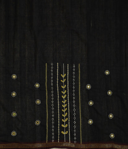 Black Bordered Handwoven Fabric with Lambani Embroidery