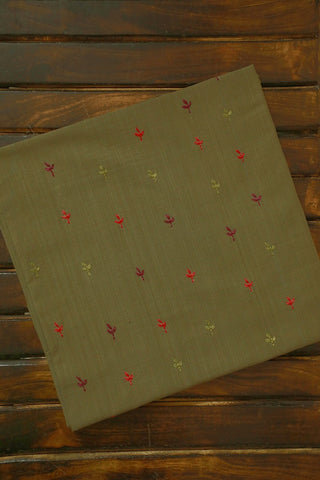 Green Handwoven Fabric with Fine Floral Embroidery