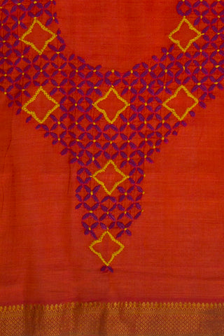 Orangish Red Chikanwork Mangalagiri Cotton Blouse Fabric